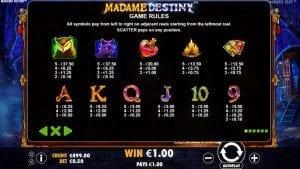 Madame Destiny Paytable