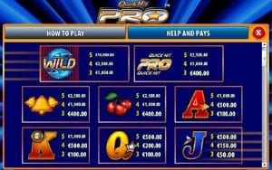 Quick Hit Pro Paytable