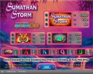 Sumatran Storm Paytable